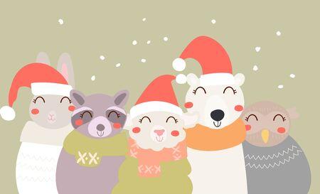Flat scandinavian style cartoon cute character animals in winter clothes and Santa hat. Minimal vector illustration, merry Christmas card. Иллюстрация