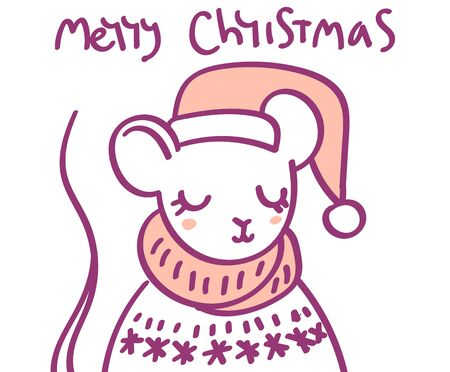 Flat scandinavian style cartoon cute character animal mouse in winter clothes and Santa hat. Minimal vector illustration, merry Christmas card. Ilustracja