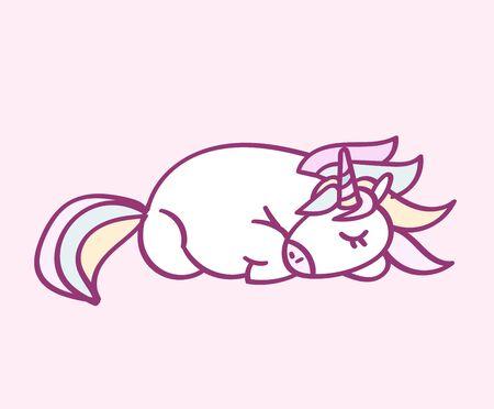 Cute cartoon character unicorn with rainbow hair sleeping, funny magical hand drawn vector illustration. Graphics art for print on t shirt, card.