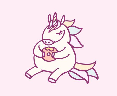 Cute cartoon character unicorn with rainbow hair eating donut, funny magical hand drawn vector illustration. Graphics art for print on t shirt, card.