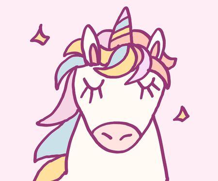 Cute cartoon character unicorn with rainbow hair and stars, funny magical hand drawn vector illustration. Graphics art for print on t shirt, card. Ilustração