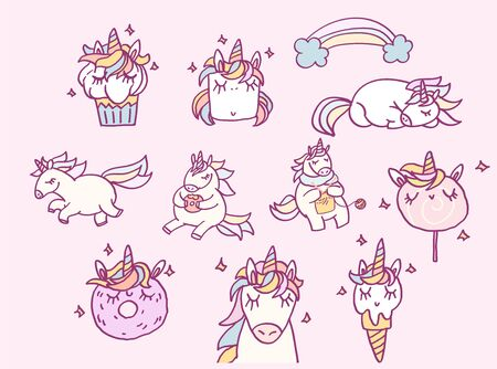 Cute cartoon character unicorns and sweet desserts set, funny magical stickers, hand drawn vector illustration. Art for card or t shirt print