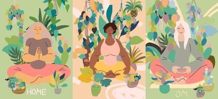 Flat style cartoon cute character, diverse women doing meditation in yoga pose at home surrounded by plants. Healthcare, wellbeing, exercise, stress relief concept. Minimal vector illustration card set.