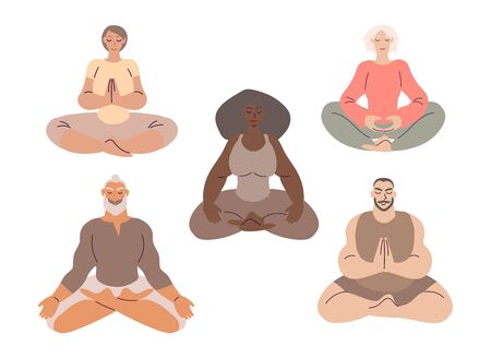 Flat style cartoon cute character, diverse group of people doing meditation in yoga pose set. Healthcare, wellbeing, exercise, stress relief concept. Minimal vector illustration. Ilustração