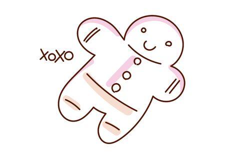 Minimal style hand drawn art of cartoon cute gingerbread human and handwritten phrase xoxo. Vector illustration Christmas card.