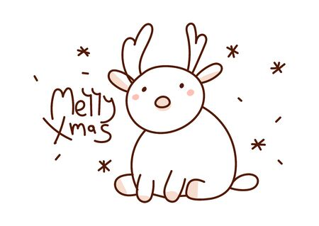 Minimal style hand drawn art of cartoon cute reindeer and handwritten phrase Merry Xmas. Vector illustration Christmas card. Иллюстрация