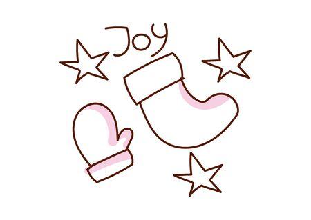 Minimal style hand drawn art of cartoon cute mitten and sock and handwritten phrase Joy. Vector illustration Christmas card.