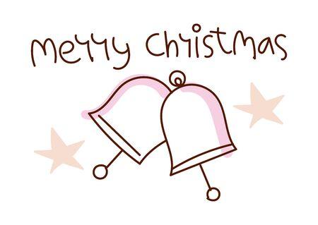 Minimal style hand drawn art of cartoon cute cat bells and handwritten phrase Merry Christmas. Vector illustration for card. Ilustração
