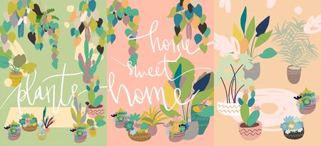 Urban interior house plants in decorative pots, with handwritten phrase. Vector illustration card set. Hand drawn art succulents cacti ficus tropical plants in scandinavian minimal style.