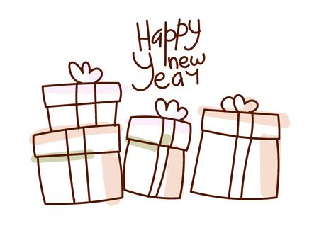 Minimal style hand drawn art of cartoon cute present boxes and handwritten phrase Happy New Year. Vector illustration Christmas card.