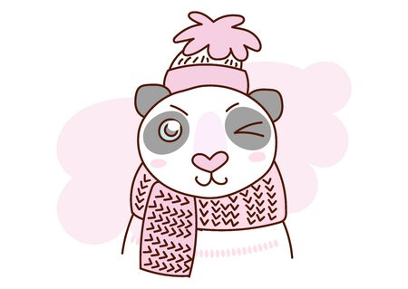 Flat style cartoon cute character animal panda in winter clothes. Minimal vector illustration, merry Christmas card. Ilustração