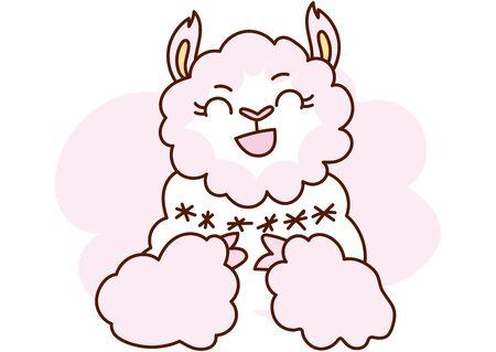 Flat style cartoon cute character animal llama in winter clothes. Minimal vector illustration, merry Christmas card.