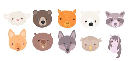 Cute sweet little animals head collection with smiling faces. Hand drawn vector art. Kids nursery scandinavian illustration for print. Graphic design for apparel.