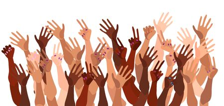 Illustration of a group of peoples hands with different skin color together. Diverse crowd, race equality, feminism, tolerance vector art in minimal flat style. Ilustração