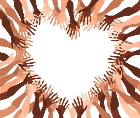 Illustrazione di un gruppo di mani di persone con diverso colore della pelle insieme. Folla diversificata, uguaglianza di razza, arte vettoriale di comunicazione in stile piatto minimale.