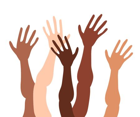Illustration of a group of peoples hands with different skin color together. Diverse crowd, race equality, communication vector art in minimal flat style.