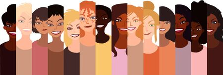 Group of happy smiling women of different race together. Flat style illustration isolated on white. Feminism diversity tolerance girl power concept.