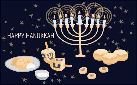 Happy Hanukkah greeting card template with menora, dreidel, chocolate coins and jelly donuts. Hand drawn flat vector illustration. Ilustração