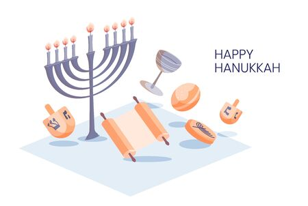 Happy Hanukkah isometric design greeting card template with menora, dreidel, chocolate coins and jelly donuts isolated on white.