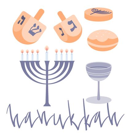 Happy Hanukkah elements set with menora, dreidel, chocolate coins and jelly donuts. Hand drawn flat vector illustration.