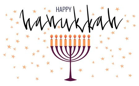 Happy Hanukkah greeting card template with menora and candles. Hand drawn flat vector illustration. Handwritten brush lettering.