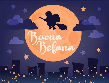 Buona Befana (translation: Happy Epiphany) greeting card template with handwritten lettering, old witch flying on a broom in the night to bring presents. Hand drawn flat vector illustration.