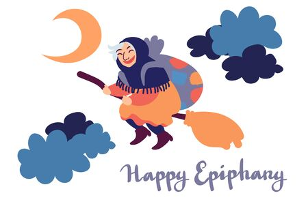 Happy Epiphany greeting card template with handwritten lettering, old witch flying on a broom in the night to bring presents. Hand drawn flat vector illustration. Ilustração
