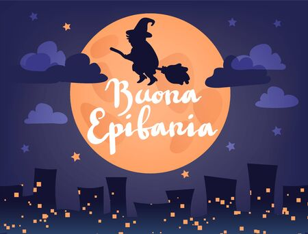 Buona Epifania (translation: Happy Epiphany) greeting card template with handwritten lettering, old witch flying on a broom in the night to bring presents. Hand drawn flat vector illustration. Ilustracja