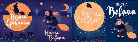 Buona Befana greeting card template set with handwritten lettering, old witch flying on a broom in the night to bring presents. Hand drawn flat vector illustration. Phrase translation: Happy Epiphany Ilustração