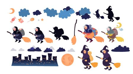 Buona Befana greeting card elements set with old witch flying on a broom in the night to bring presents. Hand drawn flat vector illustration. Phrase translation: Happy Epiphany