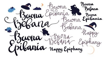 Buona Befana Happy Epifania greeting card template set with handwritten lettering, old witch flying on a broom in the night to bring presents. Vector illustration. Phrase translation: Happy Epiphany