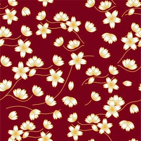 Cherry blossom branch and flowers vector art in minimal style. Seamless pattern. Chinese new year celebration decoration.