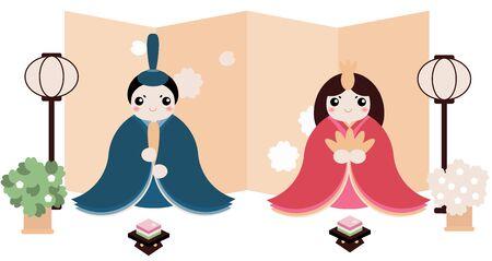 Hina Matsuri (Japanese Girls Festival) celebration card. Dolls of emperor family sitting with rice cake, golden screen, and cherry flowers. Caption translation: Hinamatsuri  イラスト・ベクター素材