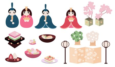 Hina Matsuri (Japanese Girls Festival) celebration card. Dolls of emperor family sitting with rice cake, daifuku mochi, and various festive dishes, golden screen, flowers. Vector objects set.