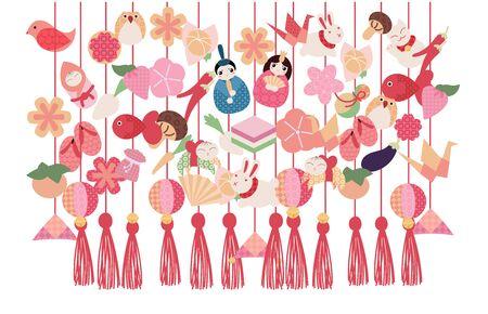 Hina Matsuri (Japanese Girls Festival) celebration card. Tsurushi Bina hanging handmade decoration with emperor family dolls and various objects.