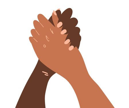 llustration of a people hands with different skin color in handshake gesture . Race equality, feminism, tolerance art in minimal style. 矢量图像