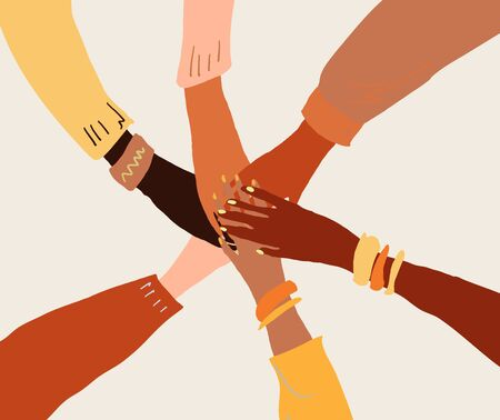 llustration of a people's hands with different skin color together holding each other. Race equality, feminism, tolerance art in minimal style. Vector Illustratie