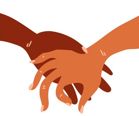 llustration of a people hands with different skin color in handshake gesture . Race equality, feminism, tolerance art in minimal style.  イラスト・ベクター素材