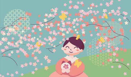 Korean Double Third or Samjinnal Festival to celebrate spring arrival. Woman sitting under azalea flowers making traditional rice cake. Vector illustration card. Caption translation: Samjinnal