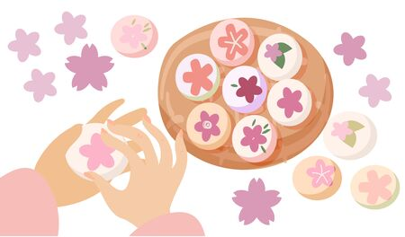 Korean Double Third or Samjinnal Festival to celebrate spring arrival. Traditional rice cakes with azalea flowers decorations. Vector illustration card template.