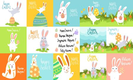 Easter celebration handwritten lettring phrase in various languages and cute bunny art. Vector illustration. Translation: Happy Easter.