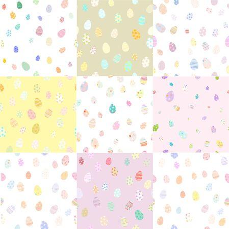 Colorful Easter egg minimal style patterns set. Vector illustration.
