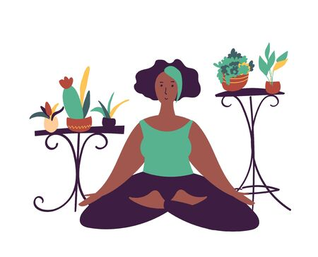 minimal vector illustration of cartoon black woman character doing yoga meditation pose at home with backgroud of potted plants.  イラスト・ベクター素材