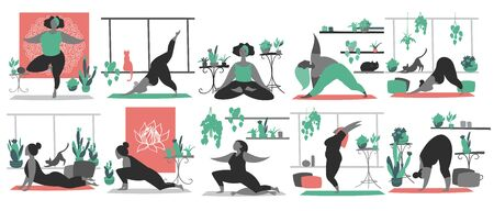 Hand drawn minimal vector illustration of cartoon black woman character doing yoga meditation pose at home with backgroud of potted plants.  イラスト・ベクター素材