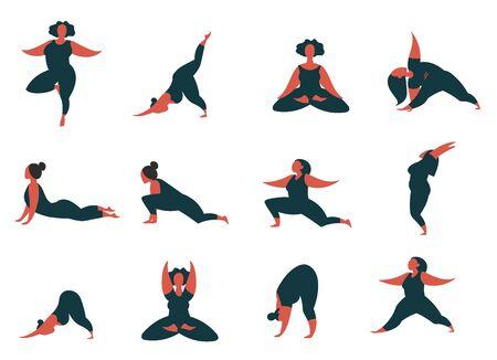 minimal vector illustration of cartoon women doing yoga various asana pose. Flat style icon character set isolated on white.  イラスト・ベクター素材