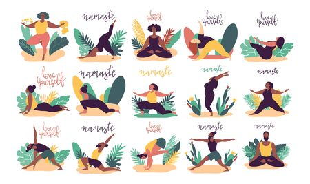 minimal vector illustration of cartoon men and women character doing yoga asana pose outside in nature with backgroud of tropical leafs and plants.