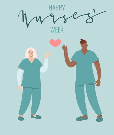 Nurse Week celebration card. Cartoon characters of male and female person standing. Vector art in minimal style.