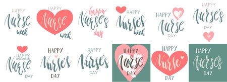 Beautiful handwritten brush lettering vector illustration phrase Happy Nurse's Week or Day with heart decoration isolated on white.