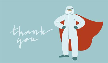 Mmedical professional in virus protection suit standing proudly while wearing super hero cape. Vector art in minimal style. Thank you handwritten phrase.  イラスト・ベクター素材