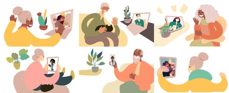 Elderly people getting medical consultation or talking with friends via video call while at home. Flat vector illustration set.  イラスト・ベクター素材